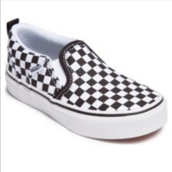 c77f7e45f8bf11 NIB Vans Black white checkerboard Asher Sz 11 kids